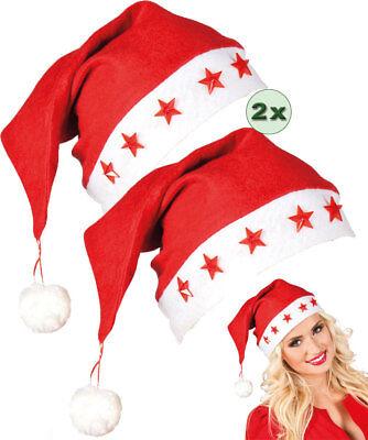 Weihnachtsmannmütze-n Weihnachts-Mütze Nikolausmütze leuchtend Weihnachten 2 St.