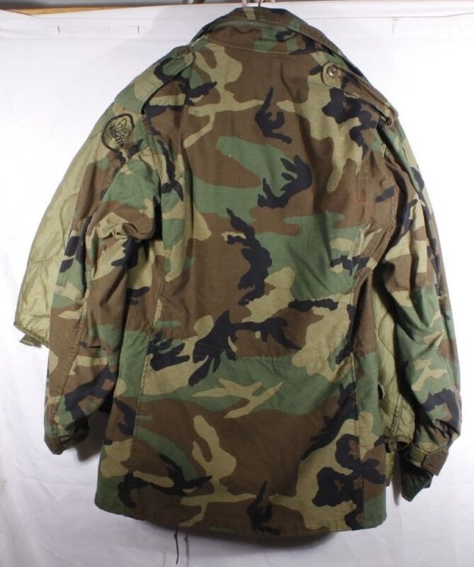 ee3044bc7d4 US Military M-65 Field Jacket Small Long Woodland Camo BDU Cold Weather w  .