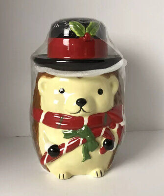 Sleigh Bell Hedgehog Candy Cane Winter Hat Scarf Christmas Holiday Cookie Jar