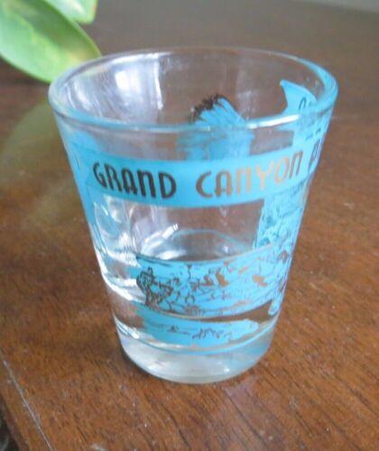 Vintage Grand Canyon Arizona shot glass aqua gold Indian Chief burro