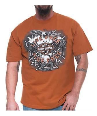 Harley Davidson Mens Electric Bar   Shield Short Sleeve T Shirt  Texas Orange