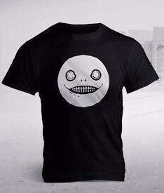 NEW Official Nier Automata Game Men's Pure Cotton T-Shirt - Size Large (L) - Black Emil Design RARE