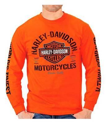 Harley-Davidson Men's Bar & Shield H-D Long Sleeve Crew Neck T-Shirt, Orange