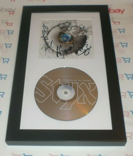 STYX FULL BAND X6 SIGNED & FRAMED CRASH OF THE CROWN CD DISPLAY AUTO COA SHAW ++