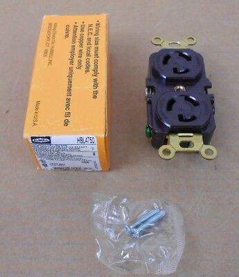 1 Nib Hubbell 4750 Hbl4750 Twist Lock Duplex Receptacle 15a 277v