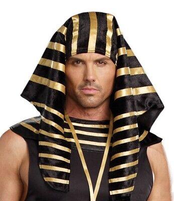 Pharaoh Costume Hat Mens Egyptian Roman Greek Black Gold King Tut Headpiece