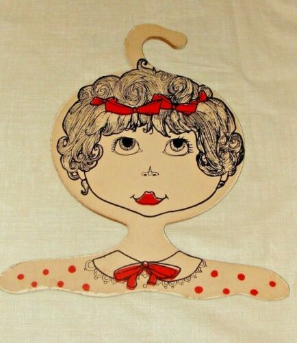 Vintage Wood Face Clothing Hanger from 1960