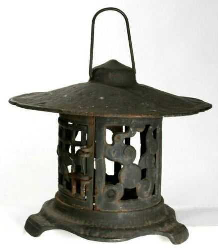 Vintage Black Cast Iron Round Japanese Pagoda Lantern Candle Holder Outdoor