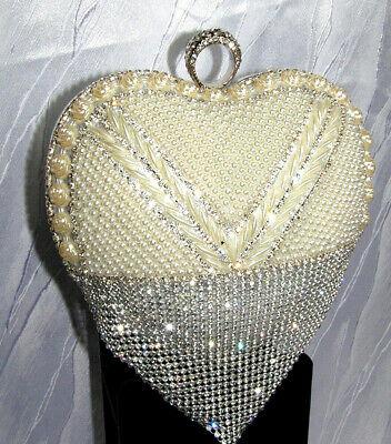 Perlen Abendtasche-clutch (Damen Herz Abendtasche Clutch Tasche Brauttasche Hochzeit Strass Party Perlen)