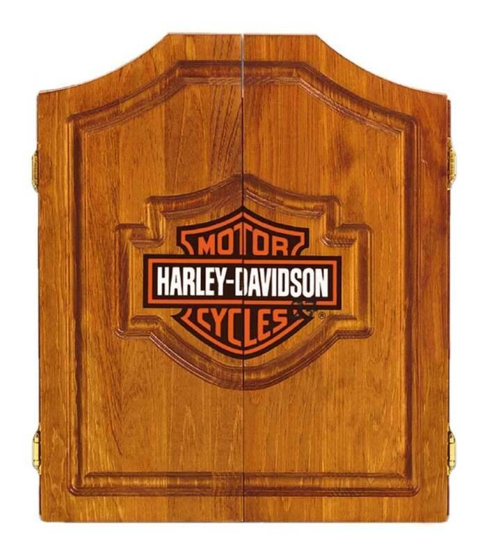 Harley-Davidson Bar & Shield Logo Dart Board Cabinet - Pine Wooden Cabinet 61905