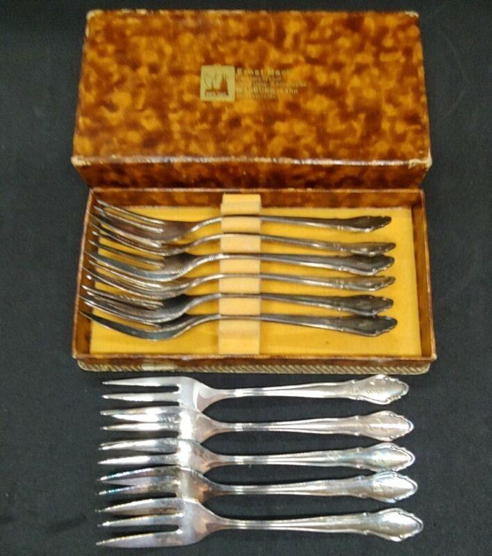 Antique Vintage Set of 11 German 90 Silverplate Fish Forks Dessert Forks