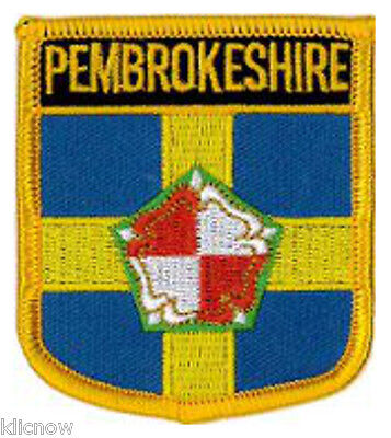 """Pembrokeshire County (Shield) Embroidered Patch 6CM X 7CM (2 1/2"""" X 2 3/4"""")"""
