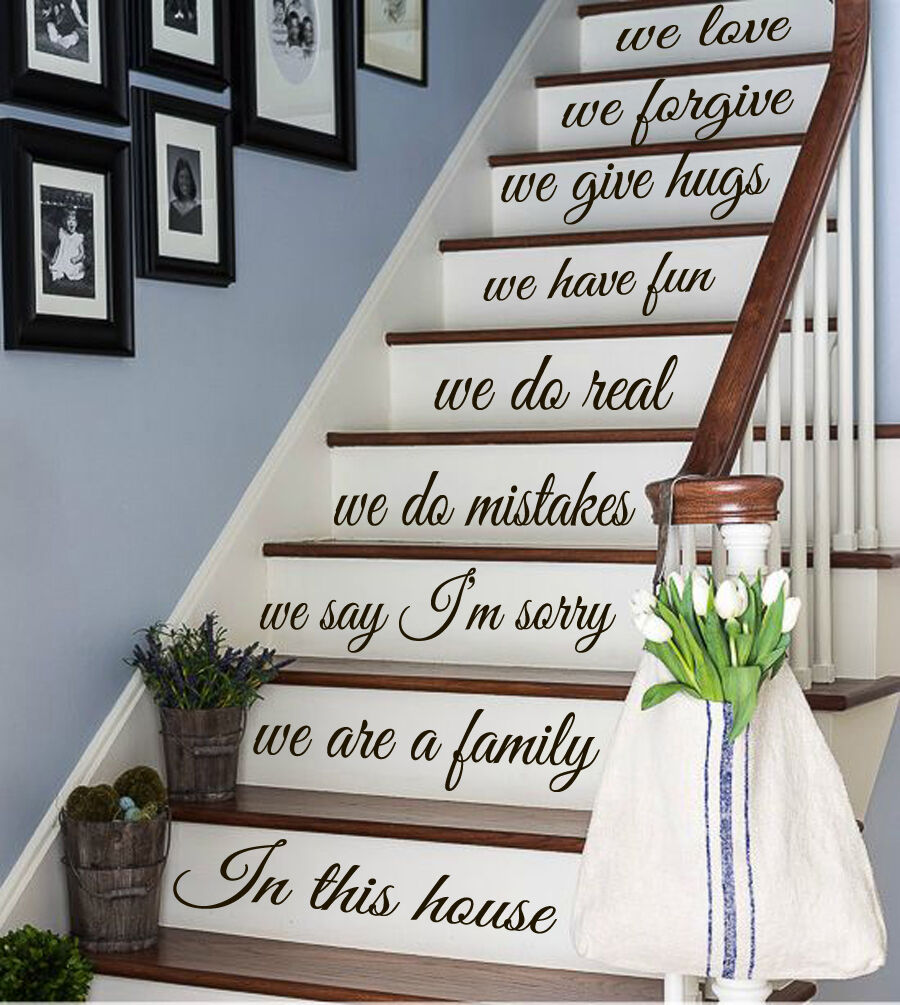 In This House Staircase Decal Family Quote Sticker for Stair