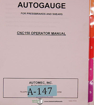 Autogauge Automec Cnc 150 G24 Control Install Programming And Operation Manual