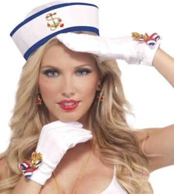 Lady in the Navy Short Gloves White Patriotic - Lady In The Navy Handschuhe
