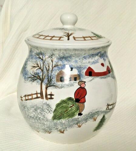 Tienshan Folkcraft Winter Side Stoneware Cookie Jar Excellent