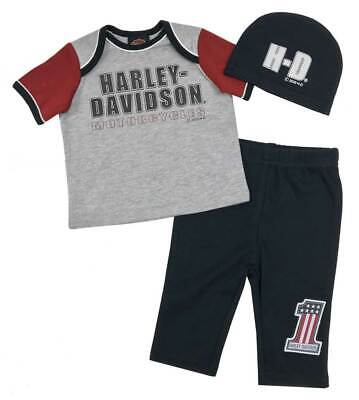 Harley-Davidson Baby Boys' H-D Newborn 3-piece Gift Set w/ Gift Bag 2551009 Harley Boys 3 Piece