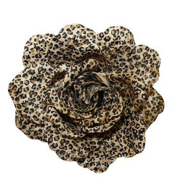 Animal Print Hair Bow - WD2U Large Cheetah Animal Print Rose Silk Flower Hair Bow Alligator Clip Brooch