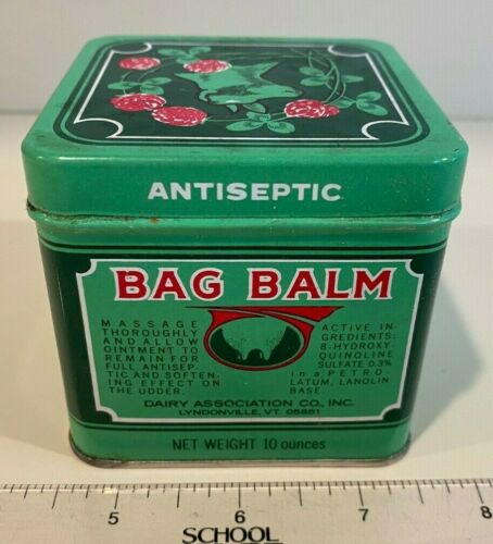 Vintage Bag Balm Farm Cow Udder Antiseptic Ointment Tin Empty Collectable 10 Oz