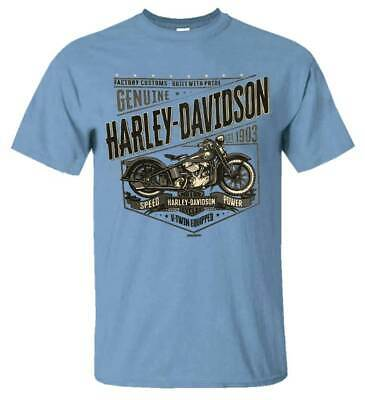 Harley-Davidson Men's Icon Motorcycle All-Cotton Short Sleeve Crew T-Shirt, Blue