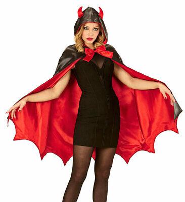 Teufelin Kostüm Damen Halloweenkostüm Satan Lucifer Devil Umhang Teufelshörner