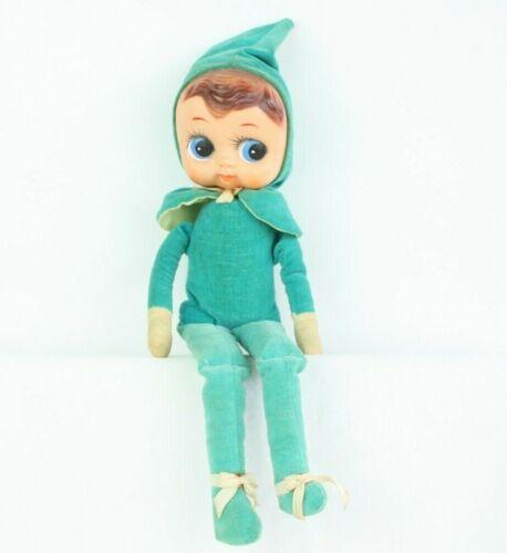 "Vtg Knee Hugger Teal Pixie Shelf Sitter Elf Doll Figure Big Eyes Rare Large 15"""