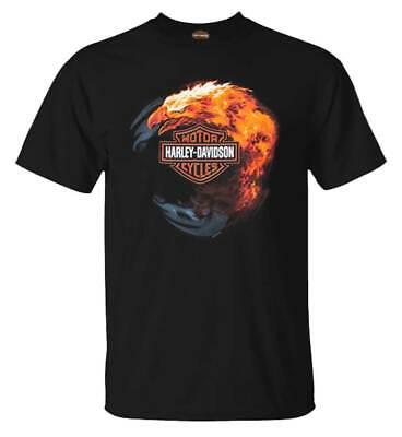 Harley-Davidson Men's Fiery Eagle Bar & Shield Crew-Neck Cotton T-Shirt, Black