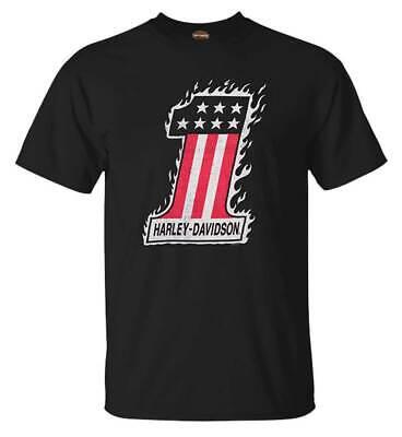 Harley-Davidson Men's #1 Flame Crew-Neck Short Sleeve Cotton T-Shirt, Black