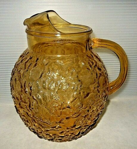 Mid Century Anchor Hocking Lido Milano Gold Crinkle Glass 96 Oz Ball Pitcher