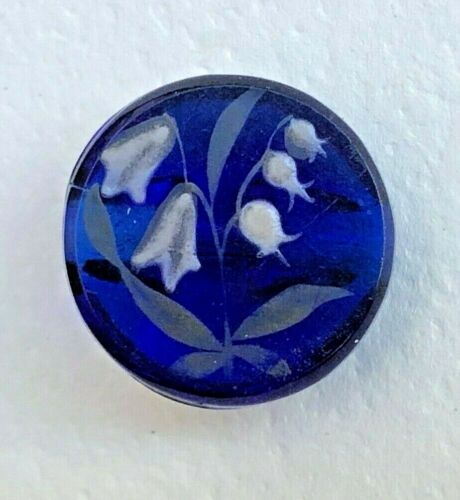 MARVELOUS  Antique  Transparent COBALT BLUE glass BUTTON LILY OF VALLEY painted
