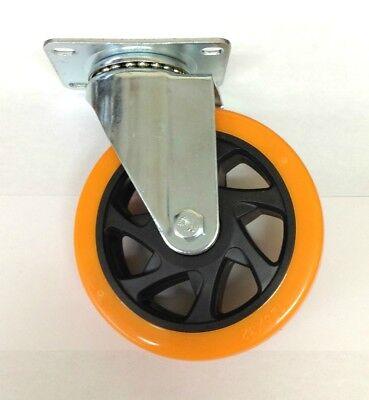 Lot Of 4 Heavy Duty 5 Inch Caster Plate Polyurethane Swivel Wheels
