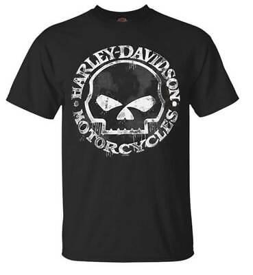 Harley T Shirts (Harley-Davidson Men's T-Shirt, Hand Made Willie G Skull Distressed)