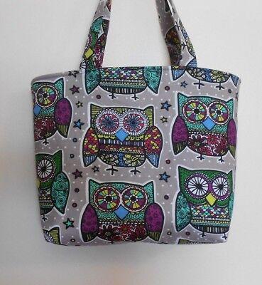 Handmade Colorful Owls Tote Purse Bag - Owl Tote