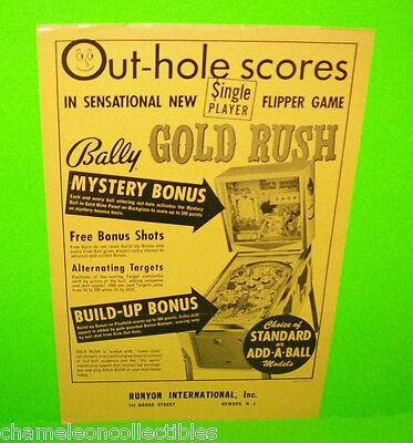 GOLD RUSH By Bally 1966 ORIGINAL Flipper Game PINBALL MACHINE PROMO SALES FLYER