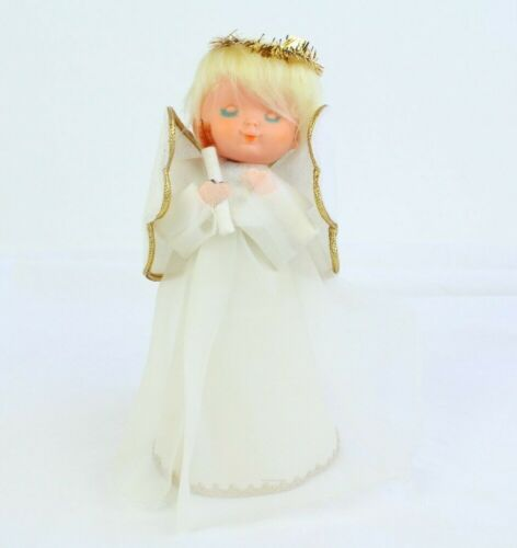 """Vintage Angel Praying Candle Tree Topper Made in Japan Tinsel Halo 8"""" Tall"""
