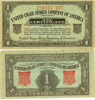 United Cigar Stores Company of America One Certificate - Lot of 12 Coupons](Party Store Coupons)