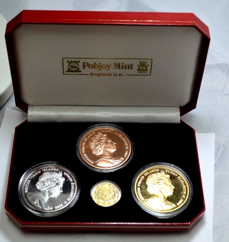 RARE 2004 British Virgin Islands Athens Olympic Gold,Silver,Bronze 4 Coins Set