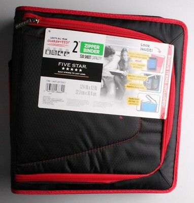 New Five Star Zipper Binder Tech Pocket 2 Red Black 12-34 X 12 Nwt