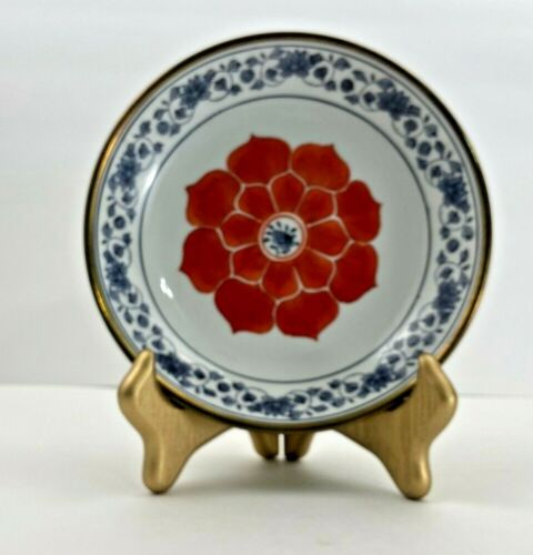 Vintage Japanese Porcelain Decorative Peony Bowl with Gold Trim 7.5 inch Dia.