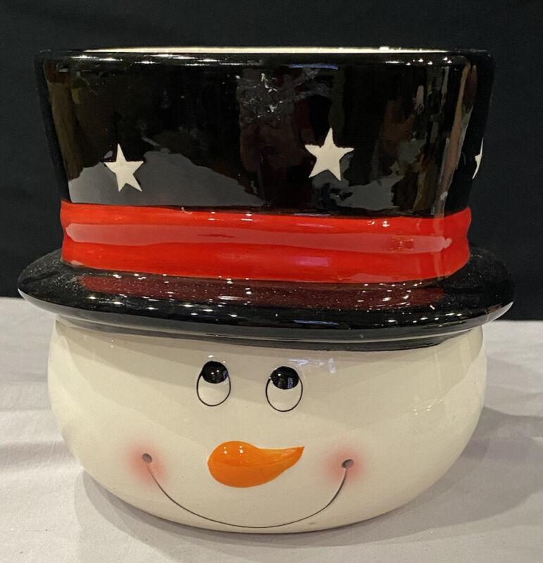 Edible Arrangements Snowman Decor Candy Dish Candle Pot Vase Christmas Decor