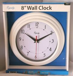 8 Round Wall Clock by Equity Battery Operated, White