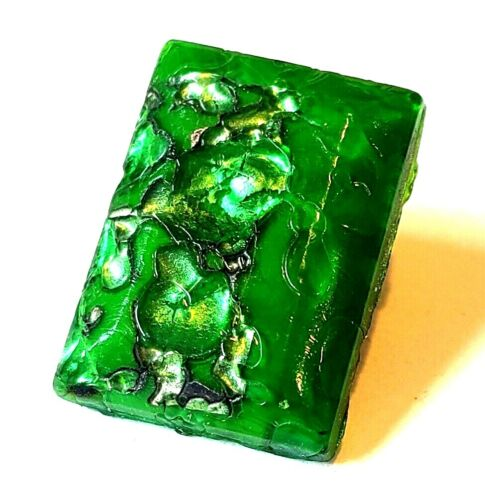 Beautiful Antique Green Glass Leo Popper Glass Button…Rectangle w Sparkling Foil