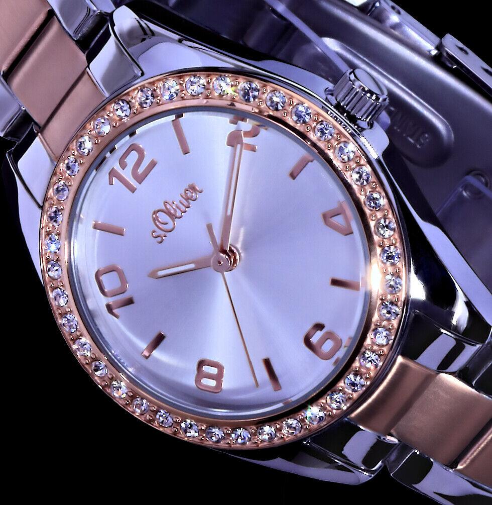 s.Oliver Damen Armband Uhr Bicolour Silber Rosegold Farben Strass SO-2774-MQ