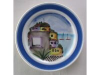 """Pretty, decorative PLATE, 11""""diameter. Made in Italy, hand painted, ' Houses by the Sea' gc"""