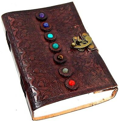 Handmade Paper 6 x 9 Embossed Leather Journal 7 Stone Chakra Journal Sketchbook