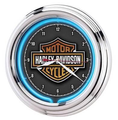 Harley-Davidson Essential Bar & Shield Blue Neon Clock, 12 in Diameter HDL-16675 12 In Blue Wall Clock