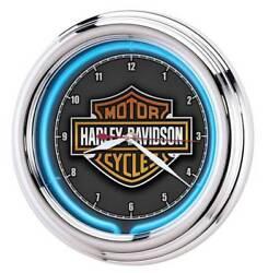 Harley-Davidson Essential Bar & Shield Blue Neon Clock, 12 in Diameter HDL-16675