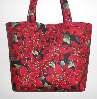 Christmas Totes (Handmade Christmas Poinsettias with Gold Etchings & leaves Tote Purse)
