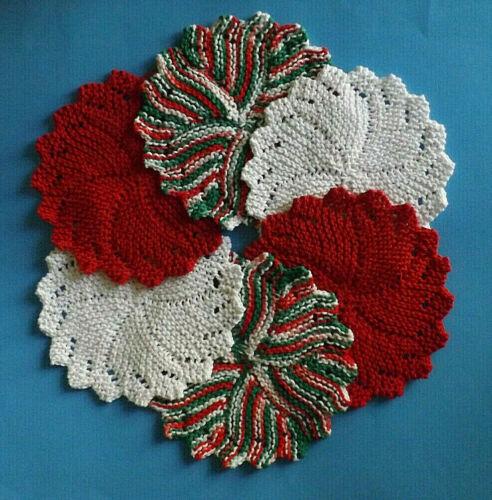 Dishcloths * CHRISTMAS * Set of 6 Round Hand Knit - 100% USA Cotton Kitchen Help