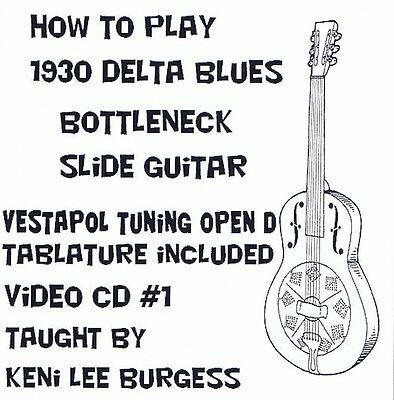 Bottleneck Slide Blues Guitar CD 1 - Open D Tuning video lessons Keni Lee